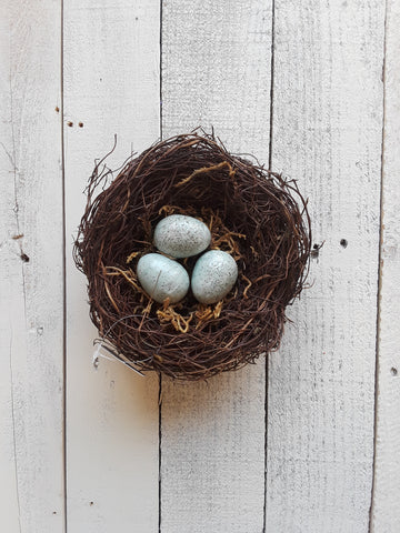 Twig Nest with Blue Eggs