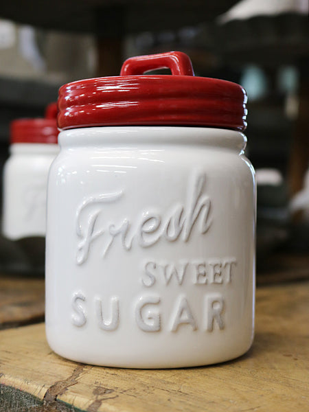 Red & White Kitchen Canister