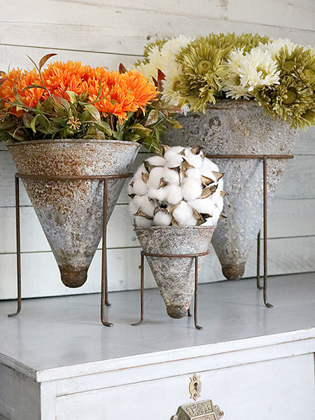 Metal Cone Vase with Tripod Stand (3 Sizes)