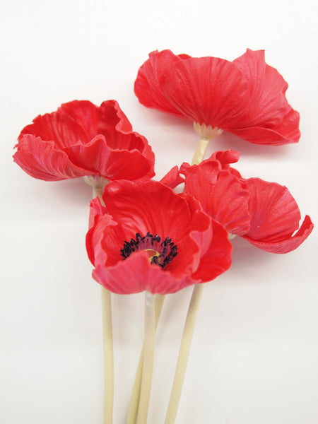 "10"" Real Touch Poppy Stems (Set of 4)"