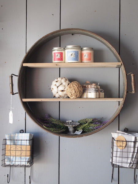 Re-purposed Drum Shelf