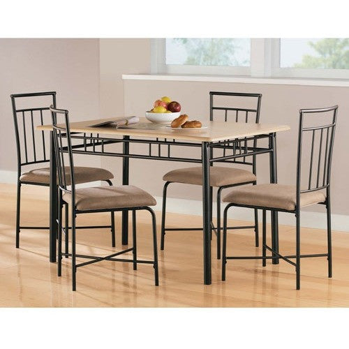 Mainstays 5-Piece Wood and Metal Dining Set, Multiple Colors - Shopatronics