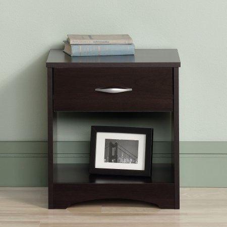 Sauder Beginnings Nightstand, Cinnamon Cherry - Shopatronics