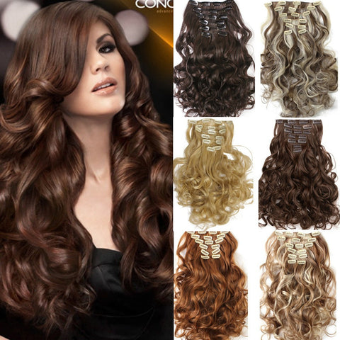 1Set Clip On Hair Extension 50cm 20inch 7pcs/set Natural Hairpieces Hair Style Wavy Curly Synthetic Clip In Hair Extensions 999 - Shopatronics - One Stop Shop. Find the Best Selling Products Online Today