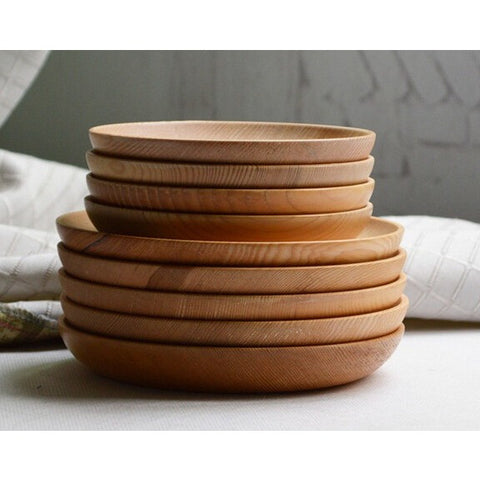 1pc Kitchenware salad plates wood bowl shallow circle round dish tabletop fruit tray simple design wooden tray kitchen tools set - Shopatronics - One Stop Shop. Find the Best Selling Products Online Today