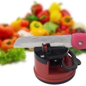 Free Shipping- 1pc Red Knife Sharpener Scissors Grinder Secure Suction Chef Pad Kitchen Sharpening Tool Plastic Sharpener for Knives - Shopatronics