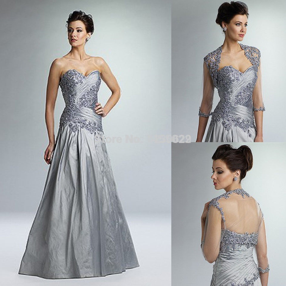 New Arrival A Line Illusion Lace Appliques Rucehd Silver Long Mother of the Bride Dresses With Jacket - Shopatronics