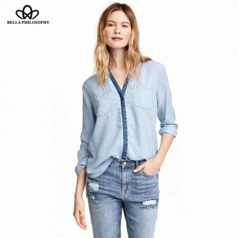 Autumn-Winter new color washed denim long sleeve double Pocket light blue women blouse - Shopatronics - One Stop Shop. Find the Best Selling Products Online Today