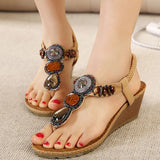 Bohemia Wedge Women Sandals Summer Vintage Rhinestone Woman Flip Flops Beach Women Shoes Comfortable Chaussure XWZ415 - Shopatronics - One Stop Shop. Find the Best Selling Products Online Today