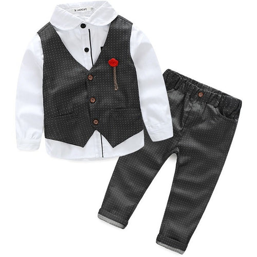 Boys Clothing Sets Autumn Spring Shirt + Vest + Pants Boys Wedding Clothes Kids Gentleman Leisure Handsome Suit - Shopatronics - One Stop Shop. Find the Best Selling Products Online Today