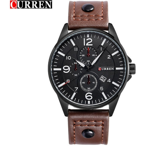 Luxury Waterproof Genuine Leather Band Watches Male Quartz Wristwatch - Shopatronics