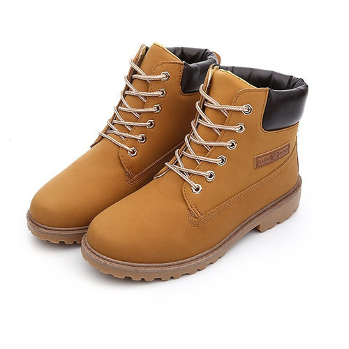 Fashion Casual Men Women Boots Autumn Winter Suede Tooling Snow boot Leather Couples Martin zapatos mujer Big Size 36-46 - Shopatronics