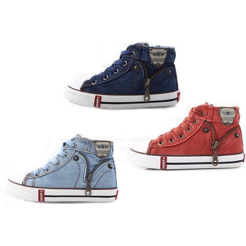 2016 Fashion Size 25-37 Children Shoes Kids Canvas Sneakers Boys Jeans Flats Girls Boots Denim Side Zipper Shoes - Shopatronics - One Stop Shop. Find the Best Selling Products Online Today