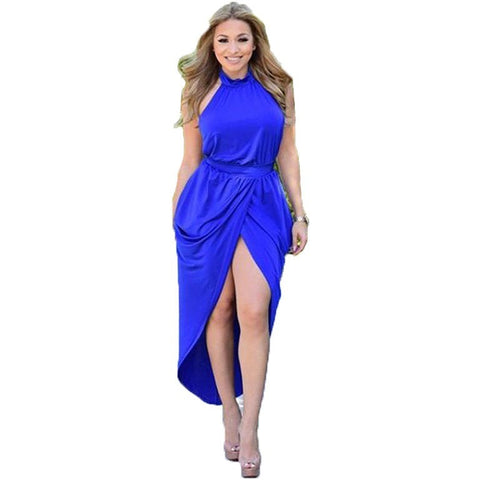 Fashion sexy dress women summer long vestidos Blue color Backless Halter dress eveing club drtess party wear robe sexy - Shopatronics