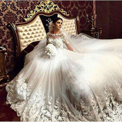 Luxury A Line Wedding Dresses Vintage Cathedral Train Lace Tulle Appliques Long Sleeve Muslim Vestido De Noiva Wedding Gown - Shopatronics