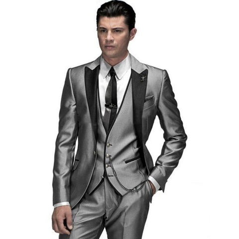 2016 Men business Suits men wedding Suits slim fit fashion black men suits with pants men groom tuxedos jacket+pant+vest+tie - Shopatronics - One Stop Shop. Find the Best Selling Products Online Today