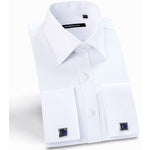 Mens Luxury French Cuff Solid Color Dress Shirts Peaked Collar Long Sleeve Slim Fit Casual Shirt Man (Cufflinks Included) - Shopatronics