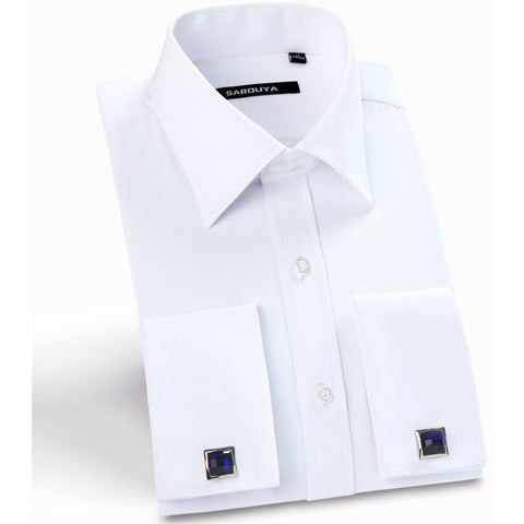 2016 Mens Luxury French Cuff Solid Color Dress Shirts Peaked Collar Long Sleeve Slim Fit Casual Shirt Man (Cufflinks Included) - Shopatronics - One Stop Shop. Find the Best Selling Products Online Today