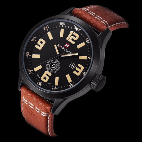 2016 Mens Watches Top Brand Luxury NAVIFORCE Men's Quartz Watch Waterproof Sport Military Watches Men Leather relogio masculino - Shopatronics - One Stop Shop. Find the Best Selling Products Online Today