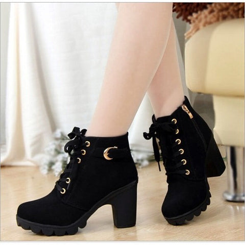 New Autumn Winter Women Boots High Quality Solid Lace-up European Ladies shoes PU Leather Fashion Boots - Shopatronics