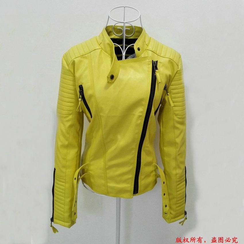 New Fashion Autumn Winter Women Brand Faux Soft Leather Jackets Pu Black Red Yellow Zippers Long Sleeve Motorcycle Coat - Shopatronics