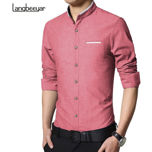 New Fashion Casual Men Shirt Long Sleeve Stand Color Slim Fit Shirt Men Korean business Mens Dress Shirts Men Clothes 5XL - Shopatronics
