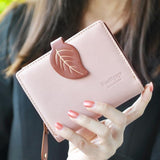 New Fashion Women Wallet Ladies Short Wallets Leather Small Leaves Wallet Coin Purse Girl Card Holder Clutch Bag - Shopatronics