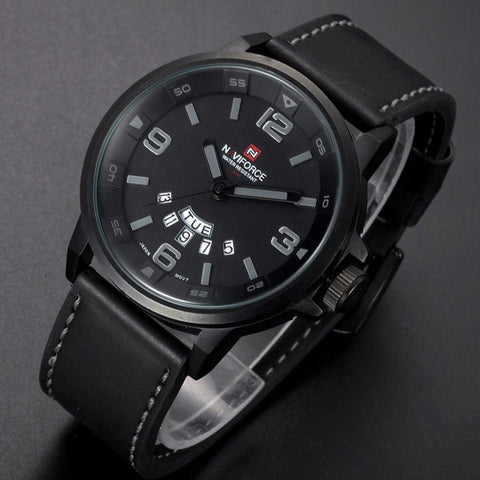 New Fashion Men's Casual Leather Strap Wristwatch Male Sports Military Watch - Shopatronics