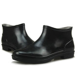New Rain Boots Men Shoes Spring CONCISE Waterproof Black Slip On Plain Round Toe Solid Ankle Boots Botas Hombre PMB007 - Shopatronics