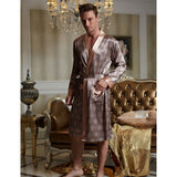 2016 New Real Men Bathrobe Geometric Robes V-neck Imitation Silk Knitted Sleepwear Full Sleeve Nightwear - Shopatronics - One Stop Shop. Find the Best Selling Products Online Today