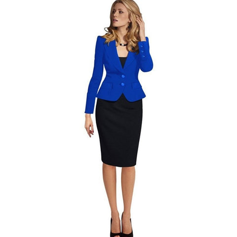 New Women Autumn Winter Long Sleeve Office suit Button Wear to Work Business Outwear Jacket Blazer Plus Size - Shopatronics