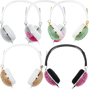 Newest Bling Headphones Anti-noise Music Fashion Earphone with Artificial Shiny Crystal Rhinestone for DJ Mobile Phone PC - Shopatronics