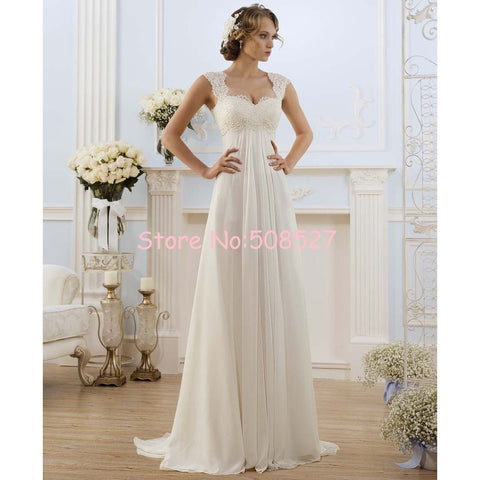 2016 Robe De Mariage Stock US Size 2-22 White/Ivory Appliques Chiffon Lace A-Line Wedding Dress Bridal Gowns Vestido De Noiva - Shopatronics - One Stop Shop. Find the Best Selling Products Online Today