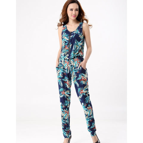 Summer Elegant  Rompers Women Jumpsuit Sleeveless Plus Size Printed One Piece Pants Long Trousers Overalls - Shopatronics
