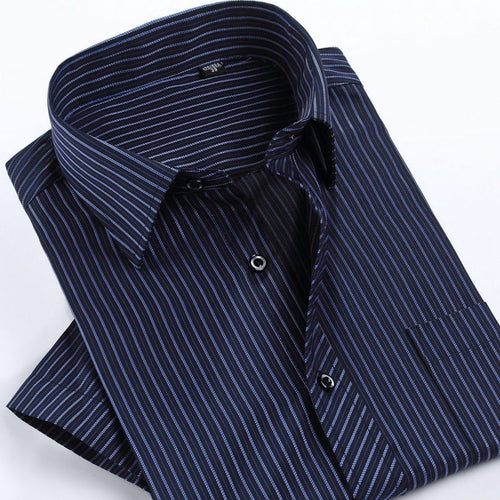 Summer Fashion Men Shirt Short Sleeve Casual Social Male Dress Shirts Male Striped Shirt high quality camisa masculina - Shopatronics