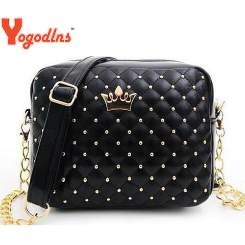 Women Bag Fashion Women Messenger Bags Rivet Chain Shoulder Bag High Quality PU Leather Crossbody Quiled Crown bags - Shopatronics