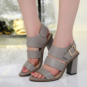 Women Sandals Spring/Summer Style Fashion Shoes High Heels Black Sandalias Female Gladiator Casual Women Shoes Square Heels - Shopatronics