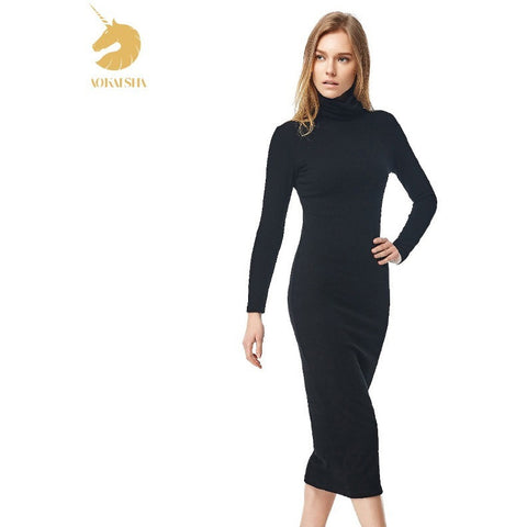Women Sexy Black Dress Long Sleeve Turtleneck Black Long Maxi Winter Dress Party Dress slim Work WearM15292 - Shopatronics
