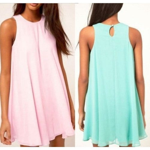Women Summer Dresses Chiffon O Neck Sleeveless Causal Dresses Ladies Elegant Tunique Pink Sky Blue S-XL - Shopatronics