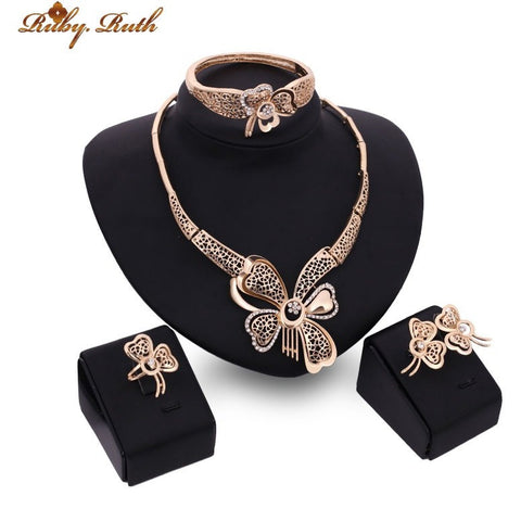 Necklace Earrings Bracelet Rings For Women Crystal 18k gold jewelry sets gifts - Shopatronics