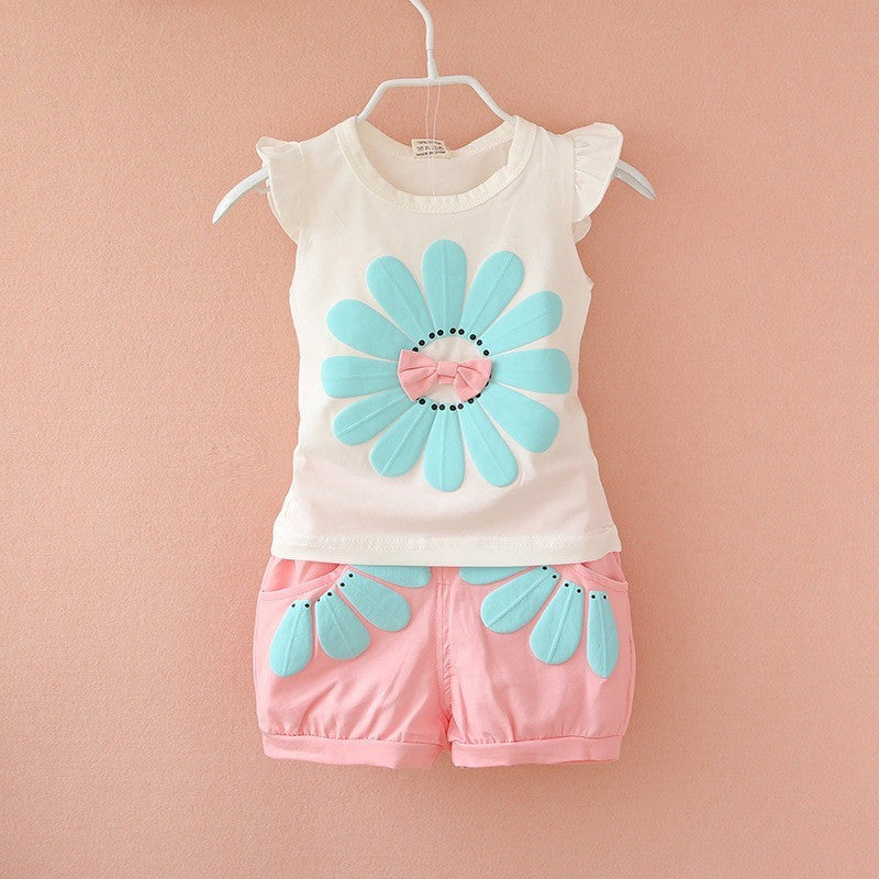 Fashion toddler baby girls summer clothing sets bow sunflower girls summer clothes set kids casual sport suit set - Shopatronics