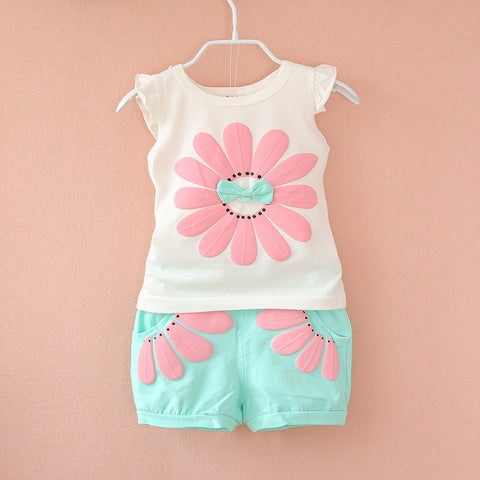 2016 fashion toddler Korean baby girls summer clothing sets bow sunflower girls summer clothes set kids casual sport suit set - Shopatronics - One Stop Shop. Find the Best Selling Products Online Today