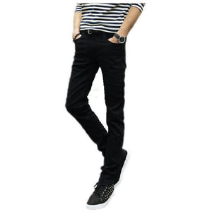 Male black skinny jeans shorts  men's clothing trend slim small trousers male casual trousers Large size 27-36 - Shopatronics