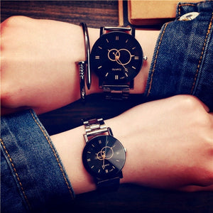 Stainless Steel Mens Watch Women Dress Quartz Watch Relogio Masculino Lover's Ladies watch Relogio Feminino - Shopatronics