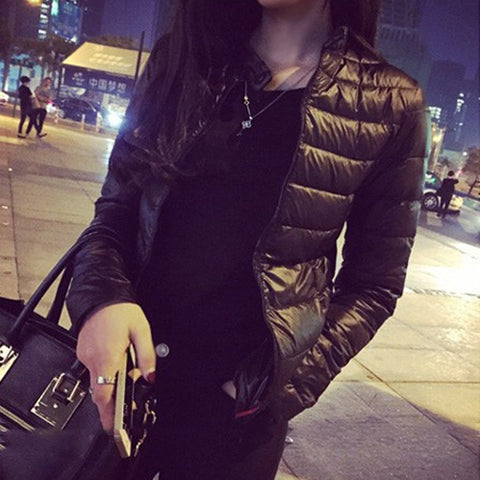 Winter & spring women in Europe and America a thin short section of cultivating outwear cotton padded warm jacket outwear - Shopatronics