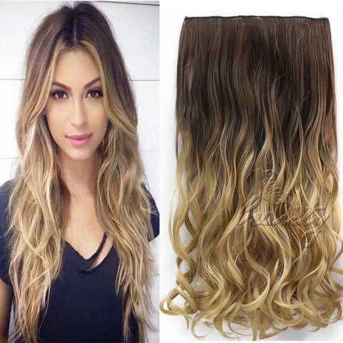 "24"" 60cm Wavy Curly Extension 5 Clip De Cheveux Ombre Piece Hair Extensions Cosplay Style Chocolate Brown to Sandy Blonde B10 - Shopatronics - One Stop Shop. Find the Best Selling Products Online Today"
