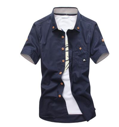 Mushroom Embroidery Men Short Sleeve Casual Shirts Summer Cotton Shirts
