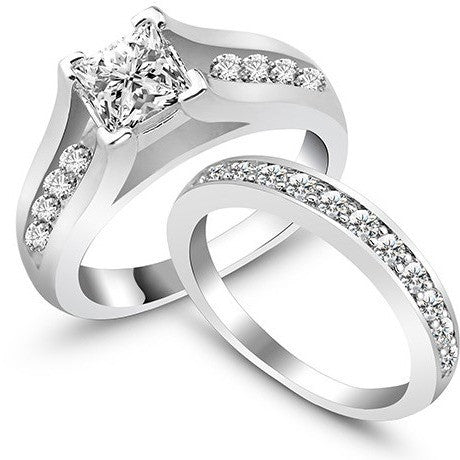 2Pcs/Set Wedding Engagement Ring Women Rings Weddings & Events Classic AAA Cubic Zirconia Silver Rings Set  (Silveren Si0109) - Shopatronics - One Stop Shop. Find the Best Selling Products Online Today