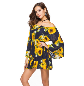 Sunflower Print Swing Loose Summer Hawaii Dress