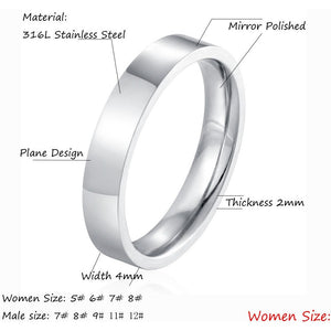 316L stainless steel silver Women 4mm 6mm Male couple rings - Shopatronics - One Stop Shop. Find the Best Selling Products Online Today